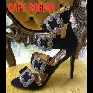 NEW WITH BOX Gorgeous Crystal Buckle Heels PB1